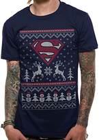Superman Men's Reindeer & Snowman T-Shirt,Medium