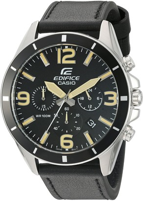 Casio Men's 'Edifice' Quartz Stainless Steel and Leather Watch
