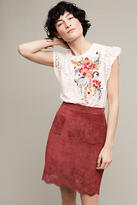 Maeve Napa Lazer-Cut Leather Skirt