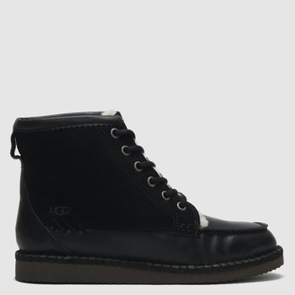 UGG Quinlin Black Leather & Suede Lace Up Ankle Boots