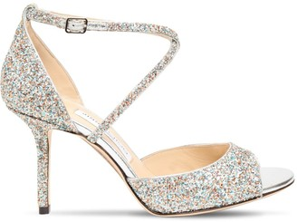 Jimmy Choo 85mm Emsy Glittered Sandals