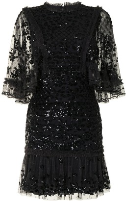 Needle & Thread Sequinned Tulle Mini Dress