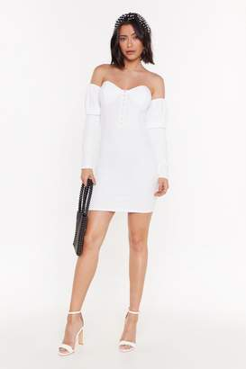 Nasty Gal Womens Better Off-the-Shoulder Hook and Eye Mini Dress - white - 12
