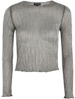 Topshop Chainmail long sleeve top with lettuce hem