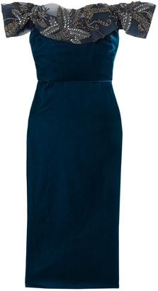 Marchesa Off-the-shoulder Embellished Tulle And Velvet Midi Dress
