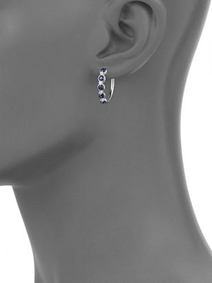 Effy 14K White Gold, Sapphire & Diamond Hoop Earrings
