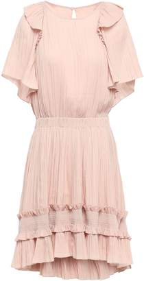 Halston Ruffle-trimmed Plisse Crepe De Chine Mini Dress