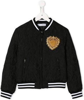 Dolce & Gabbana Heart-Embellished Jacquard Bomber Jacket