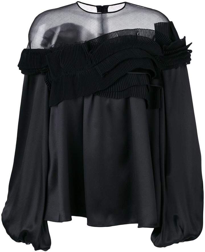 Givenchy sheer panel frill flared blouse
