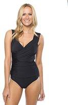 Athena Women's Cabana Solids Drape One Piece Swimsuit