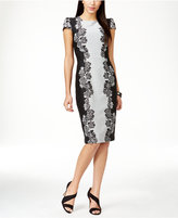 Betsey Johnson Textured Floral-Panel Sheath Dress