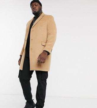 Topman Big & Tall overcoat in camel