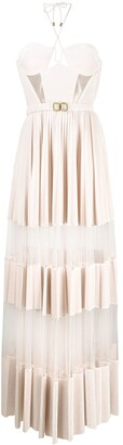 Elisabetta Franchi Sheer Panels Pleated Gown