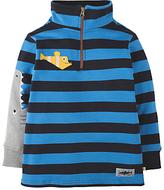 Frugi Organic Boys' Shark Zip Up Top, Blue