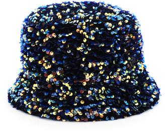 Maison Michel AXEL FLORA SEQUINED BUCKET HAT L Blue, Gold, Orange