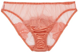 Fleur of England Penelope peach lace-trimmed tulle briefs