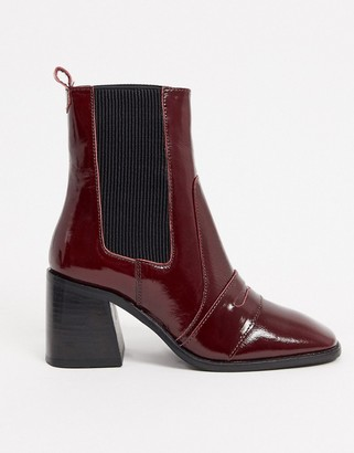 ASOS DESIGN Rocket leather loafer boots in red patent
