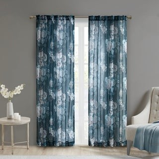 Madison Home USA Abelia Printed Floral Rod Pocket and Back Tab Voile Sheer Single Curtain Panel
