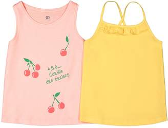 La Redoute Collections Pack of 2 Cotton French Slogan Cherry Print Vest Tops, 3-12 Years