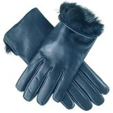 Black Ladies Navy Blue Rabbit Fur Lined Leather Gloves