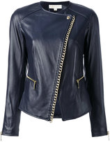 MICHAEL Michael Kors chain trim jacket - women - Leather/Polyester/Spandex/Elastane/Brass - 2