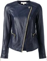 MICHAEL Michael Kors chain trim jacket - women - Leather/Polyester/Spandex/Elastane/Brass - 4