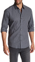 Zachary Prell Yu Checkered Print Woven Trim Fit Shirt