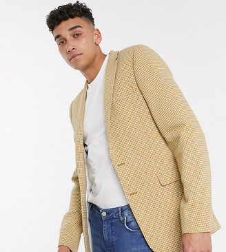 ASOS DESIGN Tall super skinny wool mix blazer with micro check in mustard