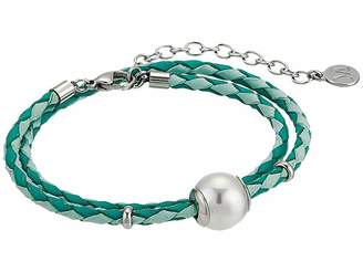 Majorica 12mm Round Pearl on Double Wrap Leather Bracelet 14-16