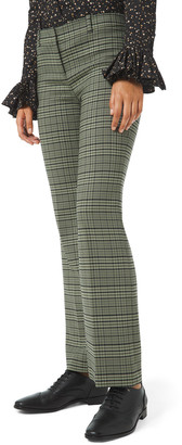 Michael Kors Plaid Stretch Cropped Flare Leg Trousers