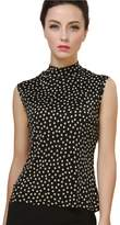 ForeverSilk-Women's Tops ForeverSilk Women's 100% Silk Knitted Mock Neck Sleeveless Tank Polka Dots Size L