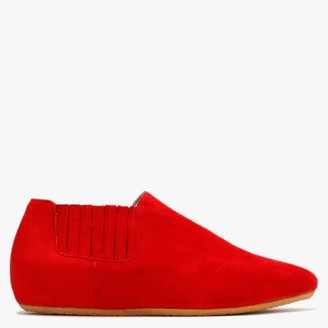 Yin Graceful Sally Red Suede Ankle Boots