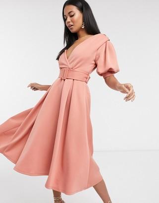 ASOS DESIGN ruched shoulder belted soft prom midi dress in pink