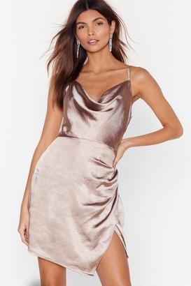 Nasty Gal Womens Don't Cowl Me Angel Satin Wrap Dress - Beige - 4