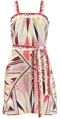 Emilio Pucci Geometric-print Cotton-gauze Mini Dress - Pink Print