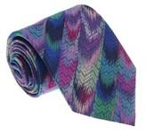 Missoni U4766 Pink/green Flame Stitch 100% Silk Tie.