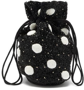 Ganni Hand-beaded Polka-dot Drawstring Pouch - Black White