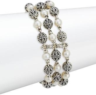 Konstantino Delos 18K Yellow Gold, Sterling Silver & 4.5-5MM White Freshwater Pearl Bracelet