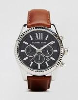 Michael Kors Lexington Chronograph Brown Watch In Leather MK8456