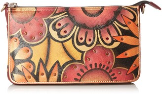 Anuschka Handpainted Leather Convertible Clutch Crystallized W/Swarovski Retro Bloom
