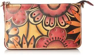 Anuschka Handpainted Leather Crystallized W/Swarovski Retro Bloom Convertible Clutch