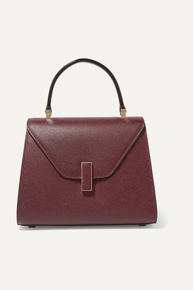 Valextra Iside Mini Textured-leather Tote - Burgundy