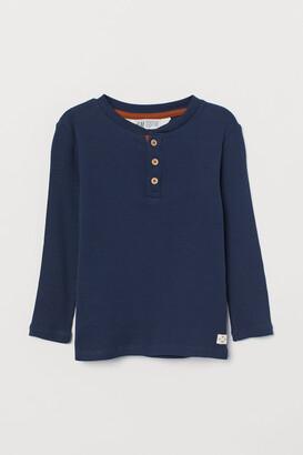 H&M Ribbed Cotton Henley Shirt