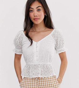 Miss Selfridge Petite broderie blouse with peplum hem in white