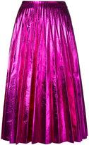 Gucci pleated metallic skirt - women - Silk/Leather - 36