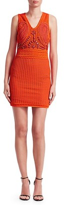 Roberto Cavalli Crochet Embroidered Bodycon Dress