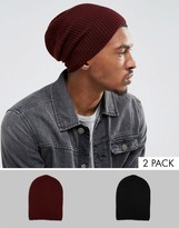 Asos Slouchy Beanie 2 Pack In Black And Burgundy
