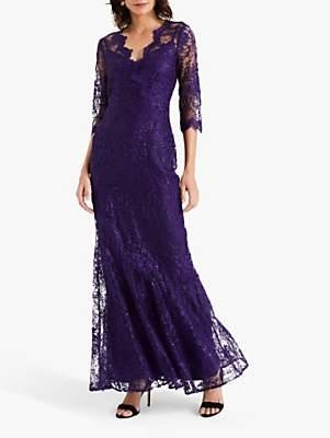 Phase Eight Grace Lace Maxi Dress, Deep Violet