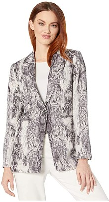 Vince Camuto Demure Snakeskin Notch Collar Blazer (Rich Black) Women's Jacket