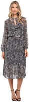 Donna Morgan Long Sleeve Chiffon Midi Dress